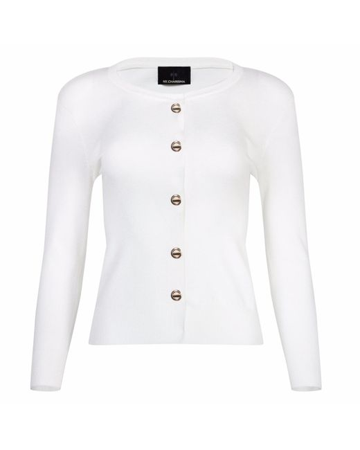 NY CHARISMA - White Ivory Cardigan With Metal Closure Front - Lyst