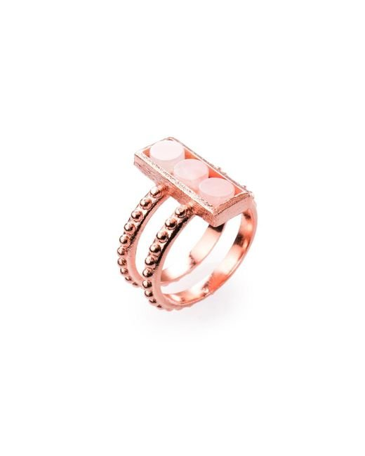 Ona Chan Jewelry | Pink Double Shank Beaded Rectangle Ring With Rose Quartz | Lyst