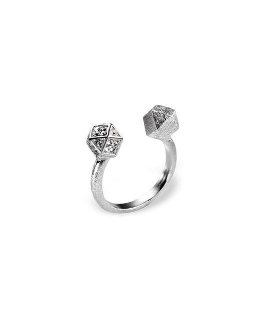 Ona Chan Jewelry | Metallic Mantra Cube Open Ring Silver With Swarovski Crystals | Lyst