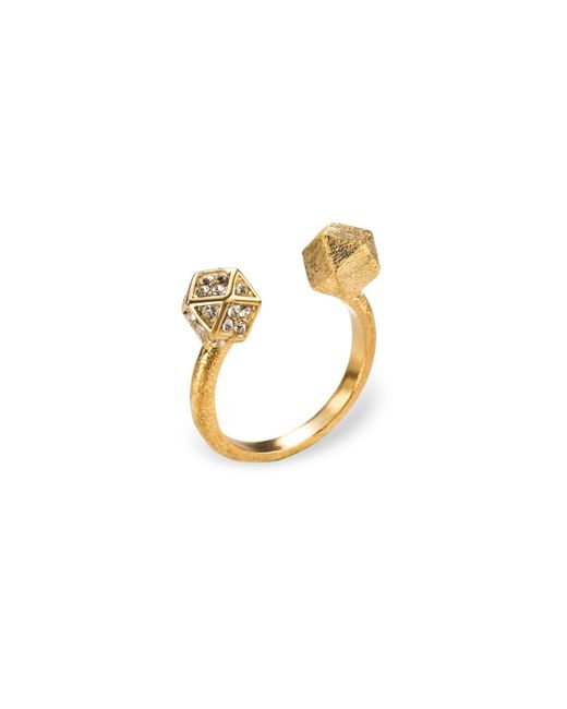 Ona Chan Jewelry | Metallic Mantra Cube Open Ring Gold With Swarovski Crystals | Lyst