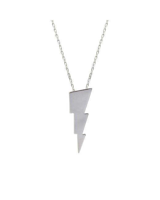 Edge Only | Metallic Triple Bolt Necklace Silver | Lyst