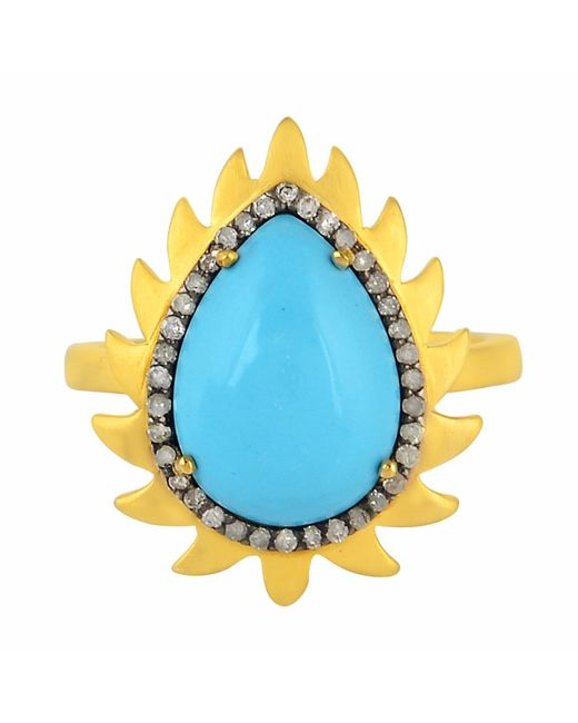 Meghna Jewels | Blue Flame Ring Turquoise & Diamonds | Lyst