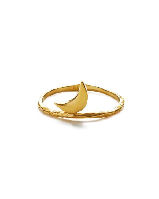 Bark | Metallic Gold Crescent Moon Ring | Lyst
