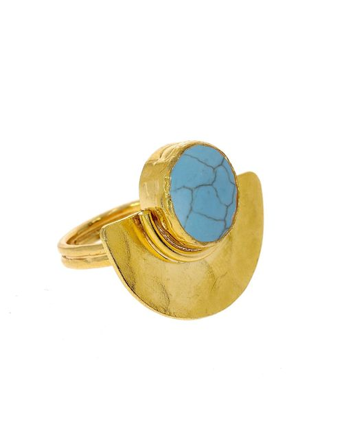 Ottoman Hands | Metallic Turquoise & Hand-hammered Crescent Disco Ring | Lyst