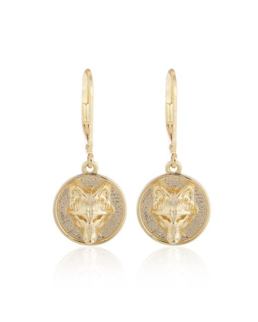 Alexa K | Metallic Gold Wolf Disc Earring | Lyst