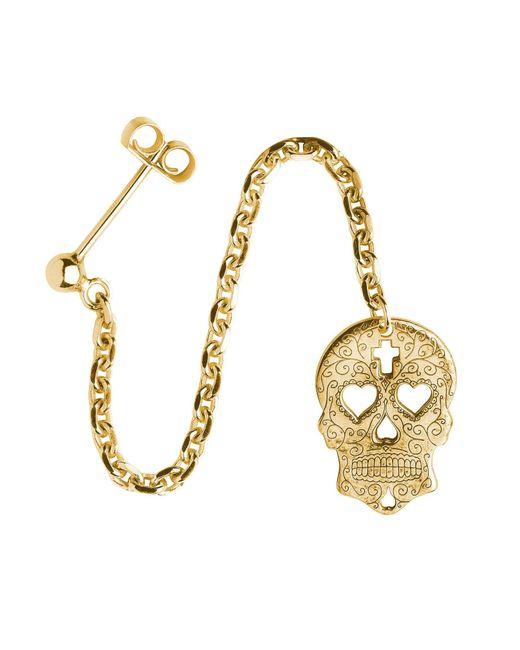 CarterGore | Metallic Gold Sugar Skull With Heart Eyes Single Long Drop Earring | Lyst