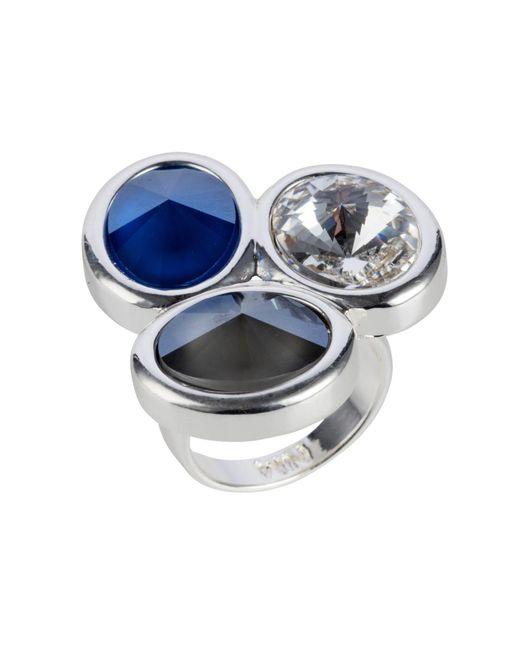 Nadia Minkoff - Metallic Oval Triple Ring Silver Blue Mix - Lyst