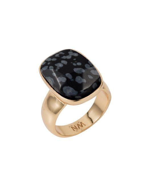 Nadia Minkoff - Metallic Semi Precious Vertical Ring Gold With Black Snowflake Obsidian - Lyst