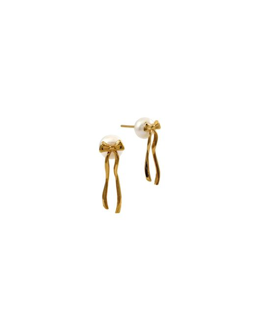 MARIE JUNETM Jewelry - Metallic Present Pearl Gold Earrings And White Pearls - Lyst