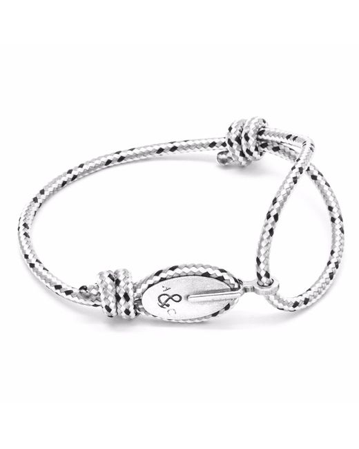 Anchor & Crew | Gray Grey Dash Union Silver & Rope Bracelet for Men | Lyst