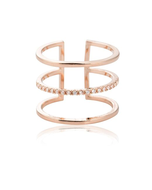 Astrid & Miyu | Metallic Triple Bewitched Ring In Rose Gold | Lyst