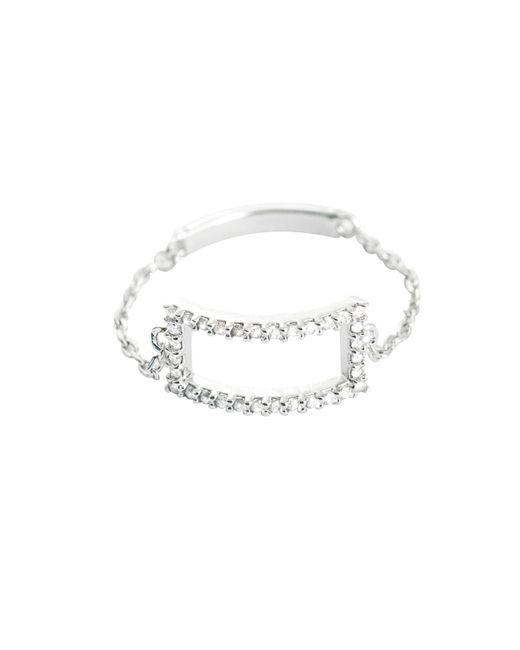 Astrid & Miyu - Metallic Tuxedo Rectangle Chain Ring Silver - Lyst