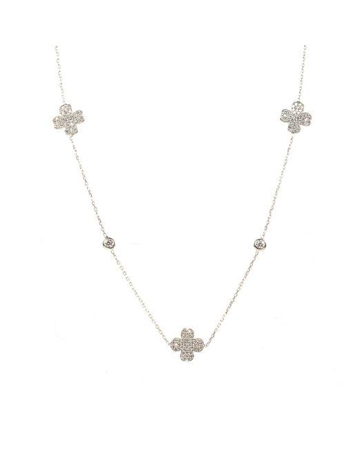 Latelita London - Metallic Lucky Clover Necklace Long Silver - Lyst