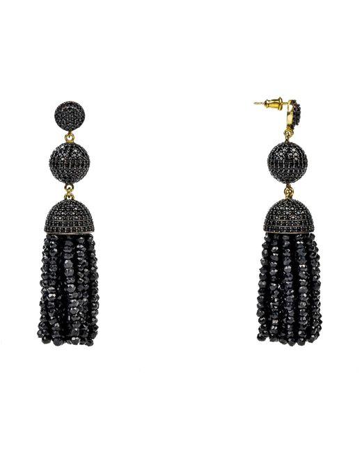 Latelita London - Tassel Ball Earring Black Spinel - Lyst