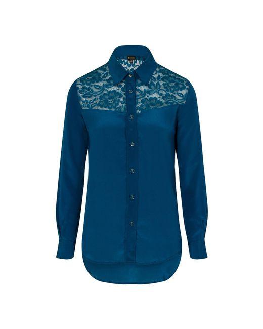 Sophie Cameron Davies - Green Teal Classic Silk Shirt - Lyst