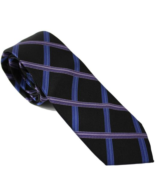 Lords of Harlech | Blue Geo Plaid Tie In Plum for Men | Lyst