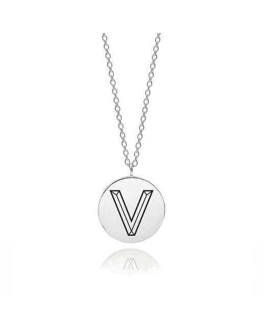 Myia Bonner - Metallic Sterling Silver Facett Initial V Pendant - Lyst