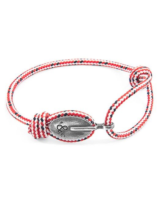 Anchor & Crew - Red Dash London Silver & Rope Bracelet for Men - Lyst