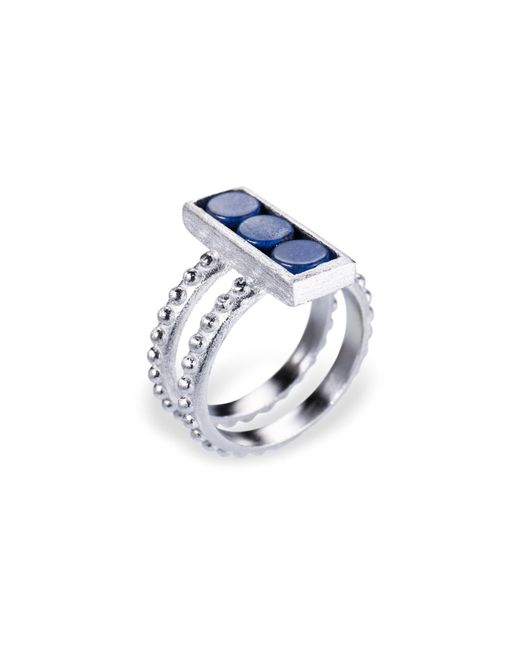 Ona Chan Jewelry   Double Shank Beaded Rectangle Ring With Blue Quartz   Lyst