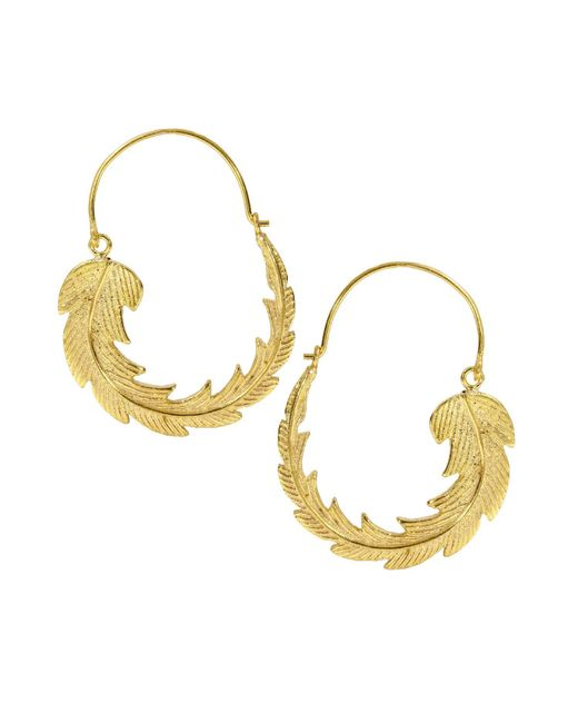 Ottoman Hands - Metallic Gold Feather Hoop Earrings - Lyst