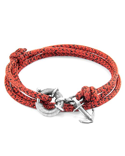 Anchor & Crew - Metallic Red Noir Clyde Anchor Silver & Rope Bracelet for Men - Lyst