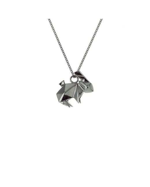 Origami Jewellery - Black Mini Rabbit Necklace Gun Metal - Lyst