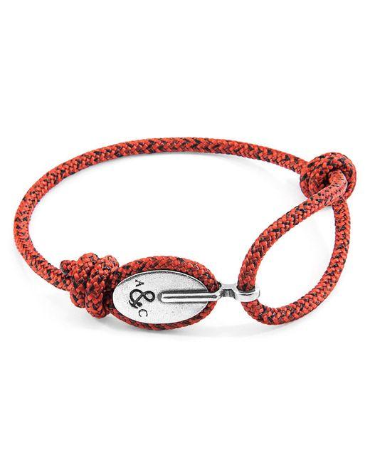 Anchor & Crew - Red Noir London Silver & Rope Bracelet for Men - Lyst