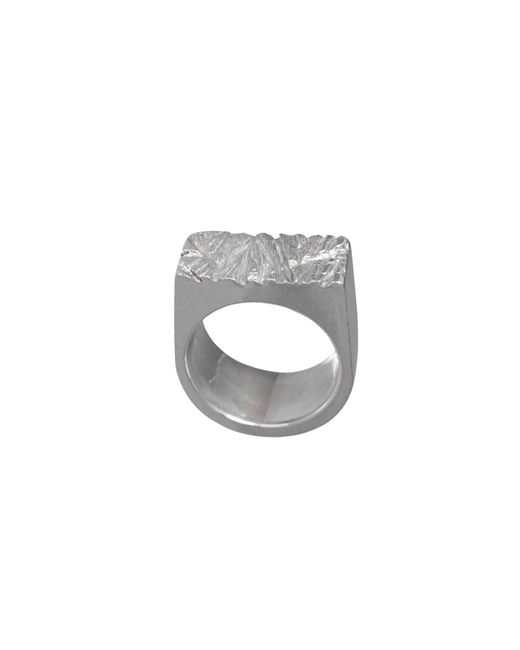 Edge Only | Metallic Rugged Ring Silver | Lyst