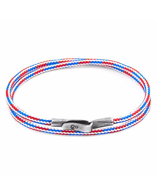 Anchor & Crew - Multicolor Project-rwb Red White & Blue Liverpool Silver & Rope Bracelet for Men - Lyst