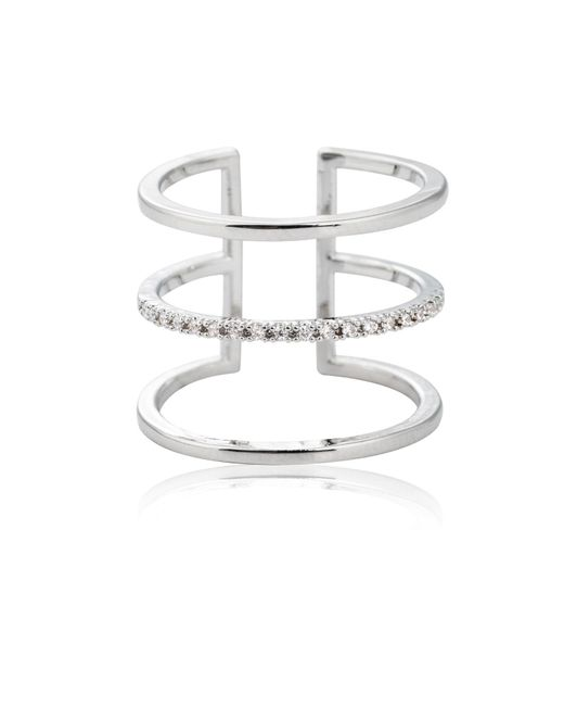 Astrid & Miyu - Metallic Triple Bewitched Ring In Silver - Lyst