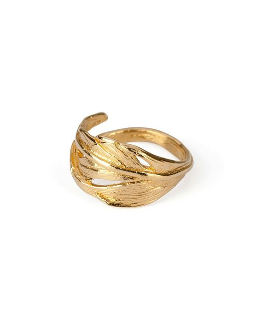 Chupi | Metallic I Can Fly Tiny Swan Feather Ring In Gold | Lyst