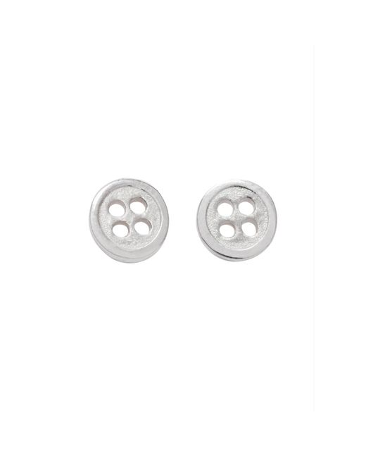 Edge Only | Metallic Button Earrings Silver | Lyst