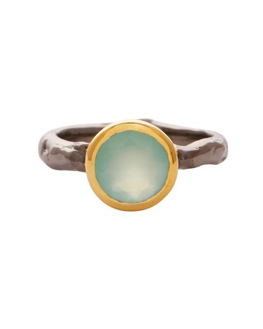 Carousel Jewels - White Aqua Chalcedony Gold And Silver Mix Ring - Lyst