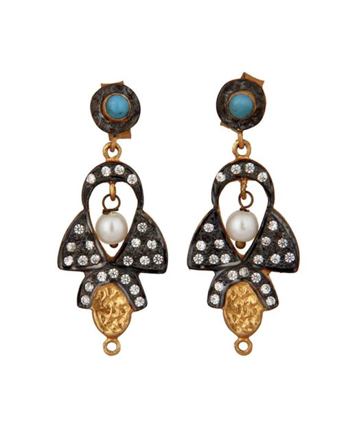 Carousel Jewels - Multicolor Delicate Pearl Turquoise & Crystal Earrings - Lyst