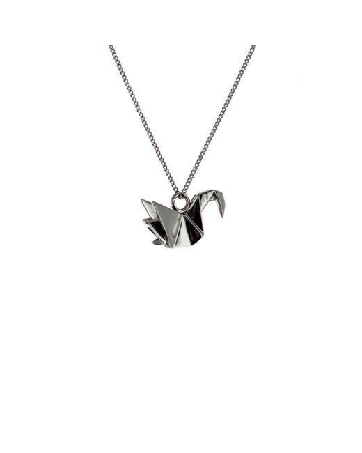 Origami Jewellery - Black Mini Swan Necklace Gun Metal - Lyst