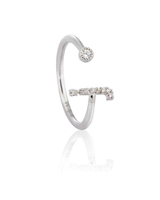Astrid & Miyu   Metallic Silver Initial J Ring   Lyst
