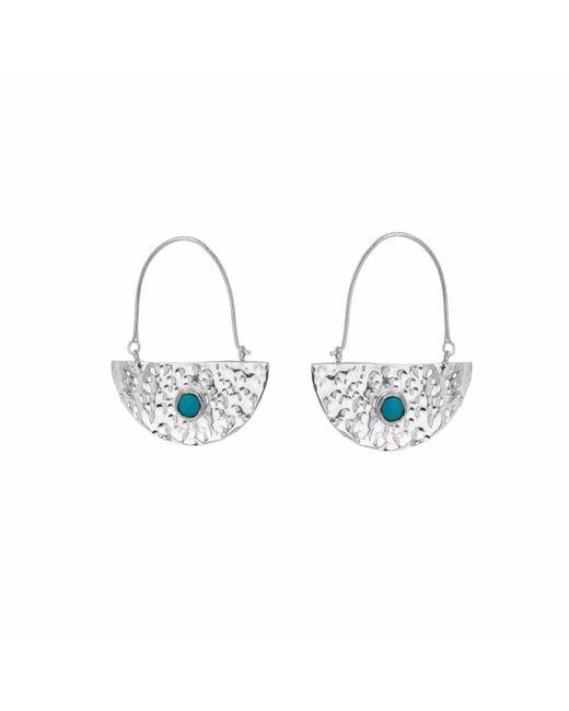 Yvonne Henderson Jewellery - Metallic Silver Semi Circle Boho Drop Earrings With Turquoise - Lyst