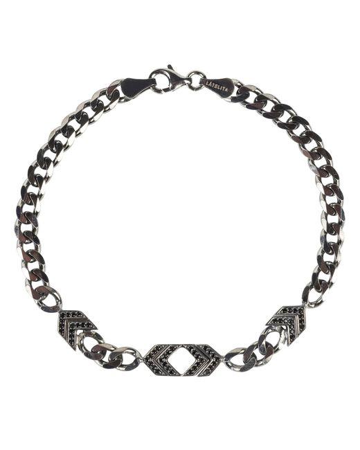 Latelita London - Metallic Mens Arrow Chevron Bracelet Oxidised Sterling Silver - Lyst