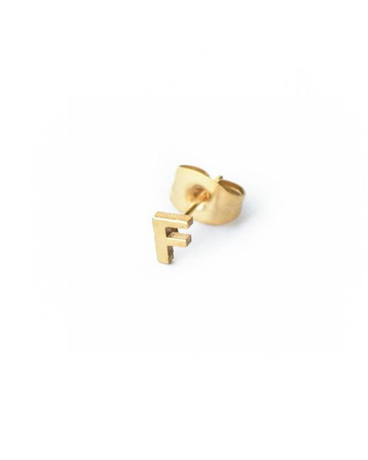 Whistle & Bango - Metallic Little Letter F Earring 18ct Plating - Lyst
