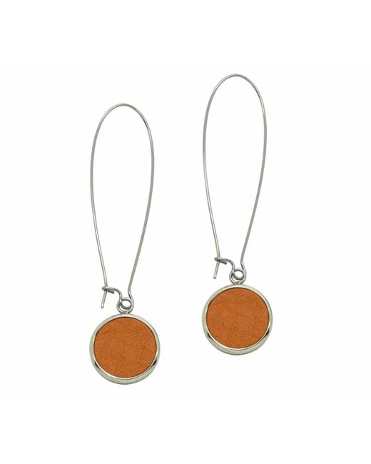 N'damus London | Silverdale Orange Leather & Steel Drop Earrings | Lyst