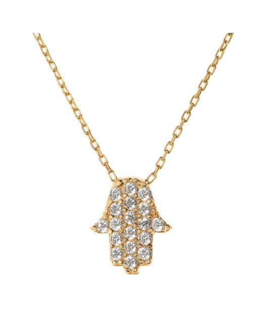 Talia Naomi | White Hamsa Necklace Gold | Lyst