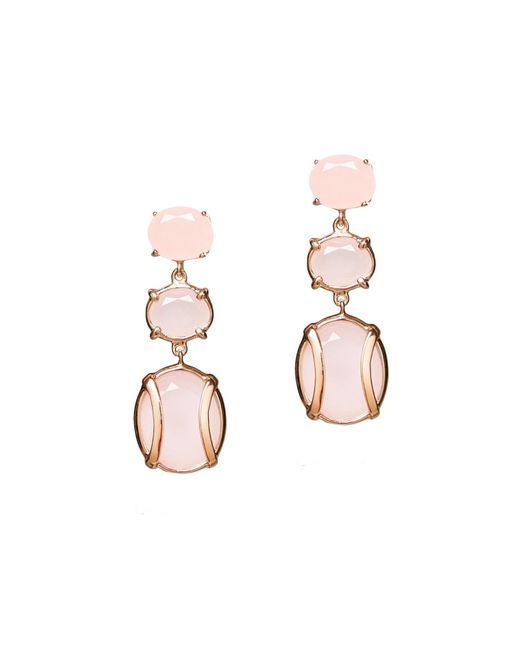 Alexandra Alberta - Pink Yellow Gold Plated Lexington Earrings With Rose Quartz - Lyst