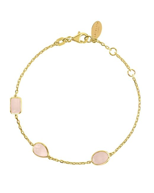 Latelita - Metallic Venice Bracelet Gold Rose Quartz - Lyst