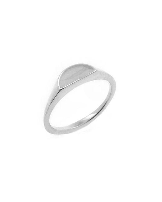 No 13 - Metallic Half Circle Signet Ring Silver - Lyst