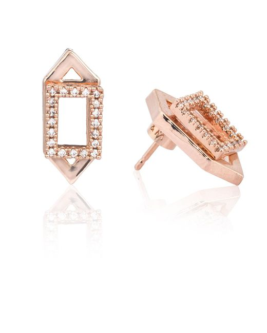 Astrid & Miyu | Metallic Rectangle Ear Jacket In Rose Gold | Lyst