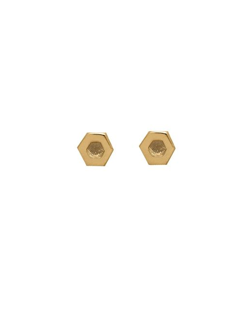 Edge Only - Metallic Hexagon Earrings In 14ct Gold - Lyst