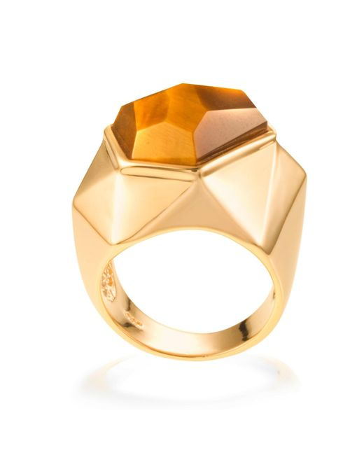 Ona Chan Jewelry | Brown Lattice Cocktail Ring Tiger's Eye | Lyst