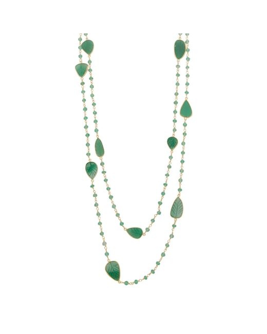 Carousel Jewels - Multicolor Green Onyx Leaves Necklace - Lyst