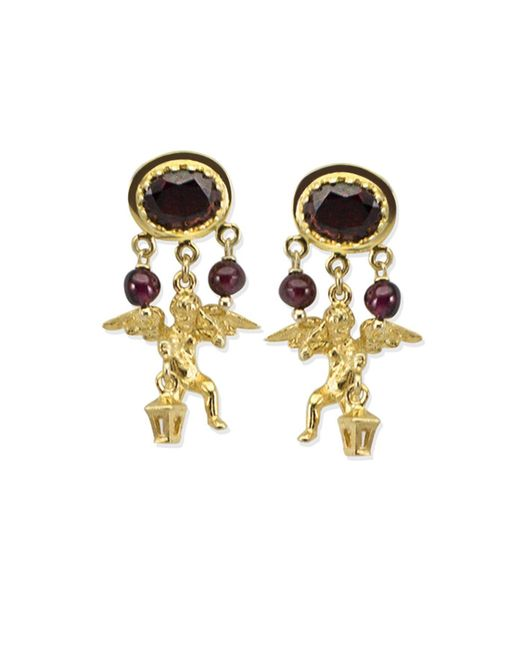 Vintouch Italy - Metallic Cherubini Garnet Earrings - Lyst