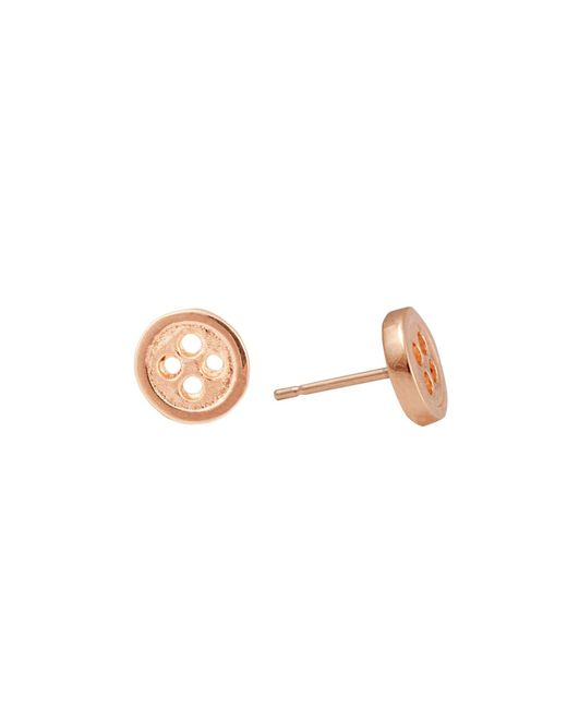 Edge Only - Metallic Gold Button Earrings - Lyst